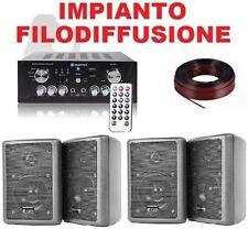 IMPIANTO AUDIO FILODIFFUSIONE LOCALI/PUB USB-SD 4 casse + amplificatore+ matassa
