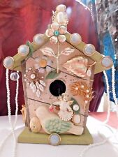 Victorian Inspired Up-Cycled ART BIRD HOUSE MADE WITH VINTAGE & ANTIQUE JEWELRY