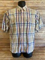 Wrangler Short Sleeve Pearl Snap Size Medium Mens Plaid Top Western Button Down