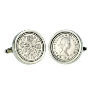 Heads & Tails  Cufflinks 6d  coin - various years- with gift box Free UK P&P