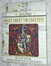 New listing Harry Potter Gryffindor House Crest Tin Coaster Set of 4 ~ New~ Mint~ Free Ship