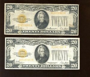 1928 USA $20 Bill Gold Certificate 2 Different