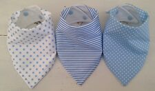 Bandana Dribble Bib Bundle x 3 ~ Spots & Stripes Baby Blue ~ Lovely ~ Bilibib!!