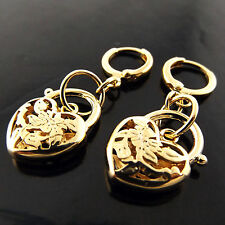 EARRINGS GENUINE REAL 18K YELLOW G/F GOLD ANTIQUE FILIGREE HEART PADLOCK DESIGN
