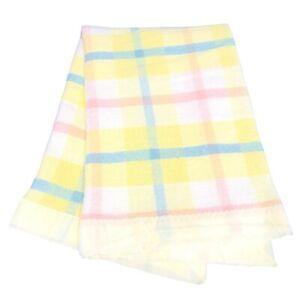 Baby Waffle Weave Chatham Blanket Yellow Satin Edge 46x34 Plaid Pastel Thermal