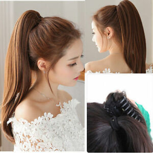 Beauty 100% Real Human Hair Ponytails Hairpiece Straight Claw Clip Ponytail