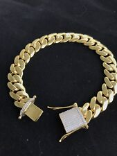 Mens Cuban Miami Link Diamond Bracelet 14k Gold Over Solid 925 Sterling Silver