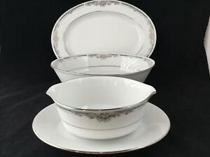 "NWT Noritake 4035 ENHANCEMENT 11"" Oval Platter + 9"" Oval Bowl + Gravy Boat"