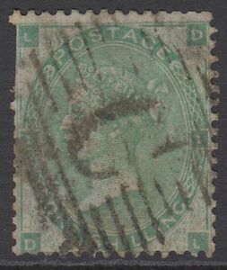 """GB QV 1s. Green SG90 Plate 1 One Shilling """"DL"""" Used in Constantinpole Stamp"""