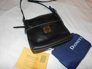 Dooney & Bourke  Letter Carrier    Black Leather  Crossbody Bag    Tags Attached