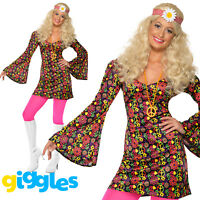 60s CND Hippy Costume Flower Power Adult Hippie Womens Ladies Fancy Dress Outfit