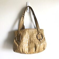B Makowsky Pebble Leather Bag Gold Accents