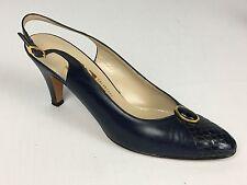 Womens Vintage Salvatore Ferragamo Navy Blue Classic Slingback Heel Pumps 7.5 Aa