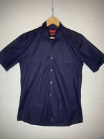 Hugo Boss Red Label Mens  Blue Cotton Short Sleeve Shirt Size  M Slim Fit ( J1)