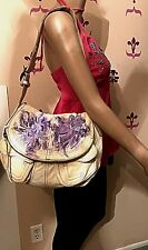 Lucky Brand Off White Stash Shoulder Bag W/Hand Painted Abstract Purple Flowers
