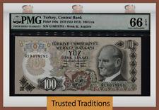 TT PK 189a 1970 (ND 1972) TURKEY 100 LIRA PMG 66 EPQ GEM UNCIRCULATED POP FIVE!