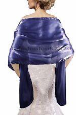 Ladies Evening Dress Navy Silky Bridal Bridesmaid Wedding Prom Shawl Stole Wrap