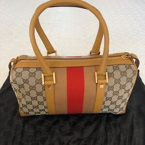 Authentic Gucci Vintage Web Original GG Boston Women's 247205 Canvas Bag