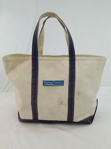 "VTG LL Bean Boat and Tote Large Heavy Canvas Bag Navy Embroidered 23"" x 14"" x 8"""