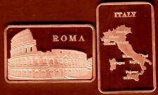 ★ JOLI LINGOT PLAQUE CUIVRE ● L'ITALIE, ROME, LE COLISEE, GLADIATEURS