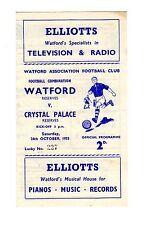 Watford v Crystal Palace Reserves Programme 24.10.1953