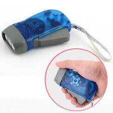 Mini 3 LED Dynamo Wind Up Flashlight Torch Light Hand Press Crank NR Camping OS