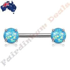 316L Surgical Steel Nipple Barbell with Prong Set Aqua Glitter Opals Ends