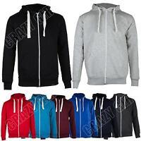 New Mens Plain Colour Zip Hooded Top Sweatshirt Jacket Large Size S M L XL XXL