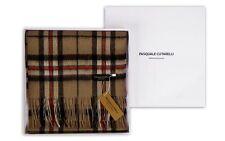 Thompson Camel Brown Tartan Scarf - Mens Womens 100% Cashmere Gift Box (THOM-C)