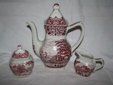 red transferware COFFEE SUGAR POT CREAMER Grindley HOMELAND England