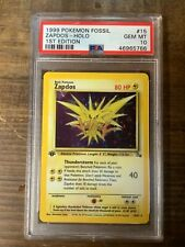 Pokémon 1999 Fossil Set 1st Edition PSA 10 Holo Zapdos