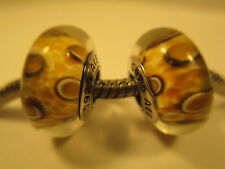 2 Pandora Sterling Silver 925 Ale Clouded Leopard Glass Beads Charms 790946 New