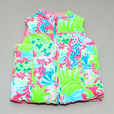 Lilly Pulitzer Girls Reversible Puffer Vest 4 Corduroy Printed Down Filled kg1