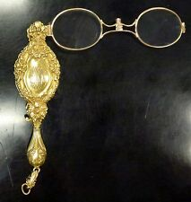 {BJSTAMPS} 14K Yellow GOLD Folding Lorgnette OPERA  glasses 35 gr. Circa 1880-90