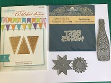 Tattered Lace Dies, Best Wishes,Flowers, Champagne Bottle, Spellbinder Pennant