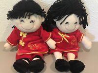 Russ Berrie 2006 Twin Plush Oriental Dolls MEI LING & MING LONG VGUC