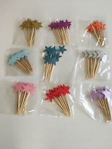 10 x Glitter Stars Cupcake Toppers Picks Decoration Birthday Party Cake Topper