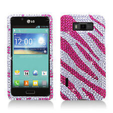 For LG Optimus Showtime Crystal Diamond BLING Hard Phone Case Silver Pink Zebra