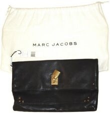 MARC JACOBS Large Eugenie Black with Gold $495 LEATHER FOLD OVER CLUTCH c3113413