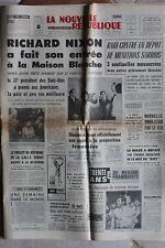 LA NOUVELLE REPUBLIQUE 21 JANVIER 1969 - RICHARD NIXON PRESIDENT MONTE CARLO