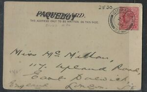 GIBRALTAR COVER (P1904B) GB USED IN GIBRALTAR 1908 P & 0 SS EGYPT ON PSC TO UK