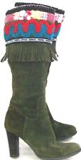 Womens PAZ Green Suede Flower Beads Fringe design Tall Boots Size 37