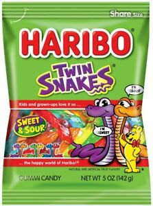 Haribo Twin Snakes Sweet-sour 6 X 150g Each