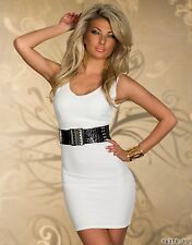 Party Club Formal Wear Modern Stylish White Mini Dress with Belt UK size 8-10