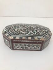 hexagonal inlaid mother of pearl wooden trinket box
