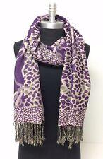 Women's Pashmina & Silk Paisley jacquard Shawl/Wrap/Scarf Purple/Beige #J05