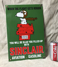Vintage SINCLAIR AVIATION GASOLINE PORCELAIN GAS STATION PUMP SIGN SNOOPY