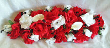 "27"" Custom Swag Red & White Centerpieces Silk Wedding Flowers Arch Decor Callas"
