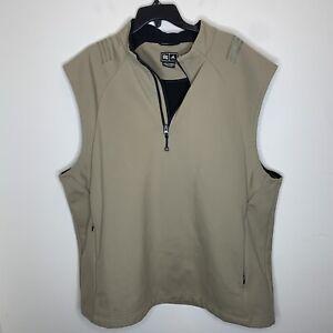 Adidas Mens XXL Tan Sleeveless Quarter Zip Vest