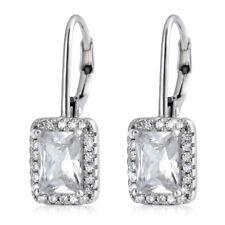 Women Lady 925 Sterling Silver  Square Cubic Zirconia Ear Dangle Earrings Gift